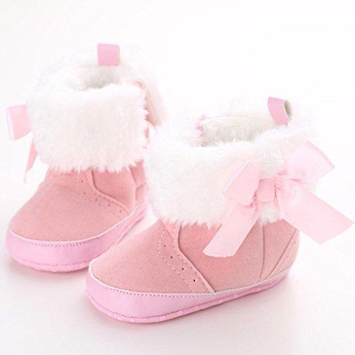 Kingko® 0-18 Monate Baby-Füße Warm Keeper Schnee-Stiefel für den Winter kalte Tage Pink
