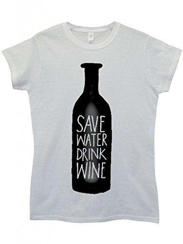 Save Water Drink Wine Cool Funny Hipster Swag White Weiß Damen Women Top T-Shirt Weiß