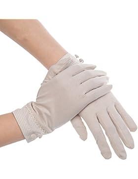 Kenmont mujeres del verano del sol de protección UV al aire libre del color sólido de algodón guantes de conducción