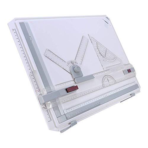 Tablero de Dibujo Multifuncional A3, Preciso Estable Conjunto de Mesa de Trazado Dibujando Almohadilla con Movimiento Paralelo y Reglas de ángulo Ajustable Clips de la Esquina