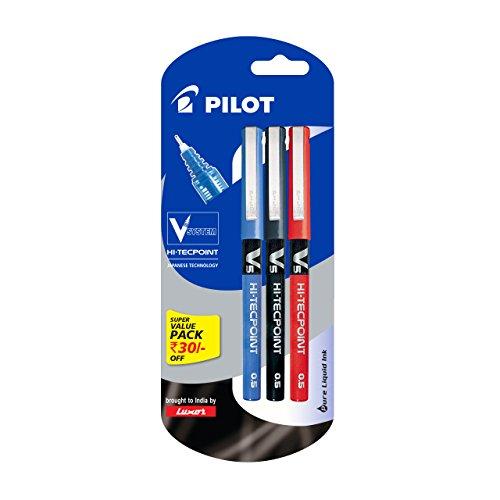 Pilot V5 Liquid Ink Roller Ball Pen - 1Blue + 1Black +...