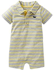 Carter's Striped Polo Romper (Baby) - Grey/Yellow-3 Months Color: Grey/Yellow Size: 3 Months (Baby/Babe/Infant - Little ones)