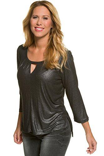 GINA LAURA Damen bis Größe 3XL | Blusen-Shirt | Langarm-Bluse in Metallic-Optik | Beschichtetes Material | Schwarz, Silber Schwarz XXL 708389 10-XXL (Metallic-t-shirt Rose)