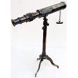 Laiton Antique Marine Télescope avec Support de Trépied Réglable