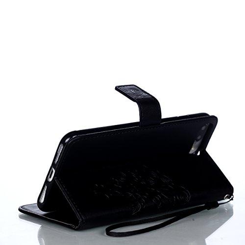 Schutzhülle für iPhone 7 Plus/8 Plus Leder Tasche Lila,BtDuck Slim Flip Cover Lanyard Ledertasche Wallet Case Bunte Muster Patterned Handytasche PU Leder Hülle für Apple iPhone 7 Plus/8 Plus 5,5 Zoll  Elegant Flower/Schwarz