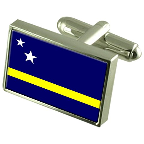 Curaçao Sterling Silver Flag de manchette en boîte personnalisée gravée