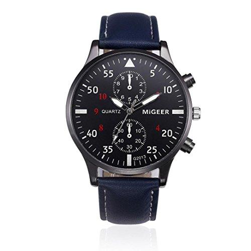 Uhren Dellin Retro Design Leather Band Analog Alloy Quartz Wrist Watch (Blau)