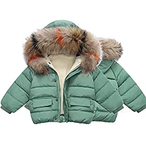 Veromca Huggins Winter Baby Jackets for Girls Parka Hooded Down Coats Kids Outerwear Coat for Boys Jackets Green 2T