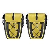 ROCKBROS Gepäckträgertaschen Fahrrad Transporttaschen Hinterradtasche 100% Wasserdicht Taschen Mit Netztasche Große Kapazität 27L*2 EIN Paar (Gelb*2)