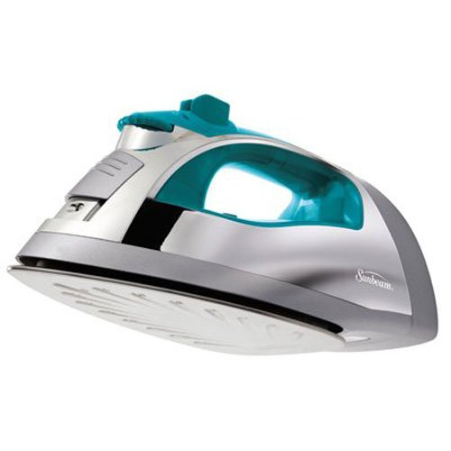 Sunbeam Steam Master 1400 Watt Large-size Anti-Drip Non-Stick Stainless Steel Soleplate Iron with Variable Steam control and 8' Retractable Cord, Chrome/Teal, GCSBSP-201-000 by Sunbeam