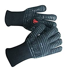 Grill Heat Aid Grillhandschuhe & Ofenhandschuhe - hitzebeständig bis 500 Grad - Kochhandschuhe & Hitzeschutzhandschuhe zum Grillen, Kochen & Backen - 1 Paar Hitzeschutz Handschuhe in Vollschwarz