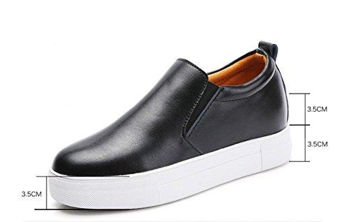 La signora autunno dal fondo pesante scarpe scarpe casual scarpe ascensore pendono con i pattini single Black
