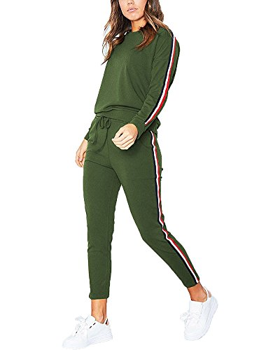 Shallgood Damen Hausanzug Jogginganzug Trainingsanzüge Streetwear Langarm Rundhals Hoodie Sweatshirt ( Pullover+ Hose) Dunkelgrün EU L (Mit Velours-tunika Kapuze)