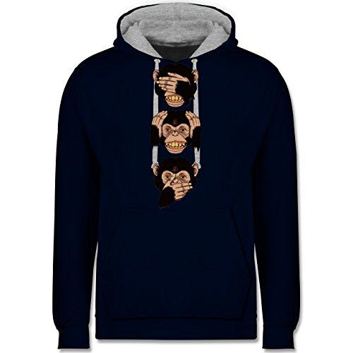 Statement Shirts - Drei Affen - Sanzaru - Kontrast Hoodie Dunkelblau/Grau meliert