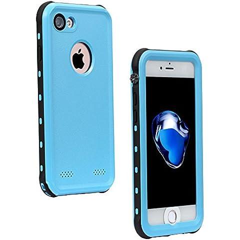 NEXGADGET Funda Impermeable IP68 iPhone 7 Anti-Impacto Funda Protectora 4.7 pulgadas a Prueba de Polvo / Nieve / Agua para Practicar Deportes de Agua, la Playa o Estar en la Piscina ( Azul