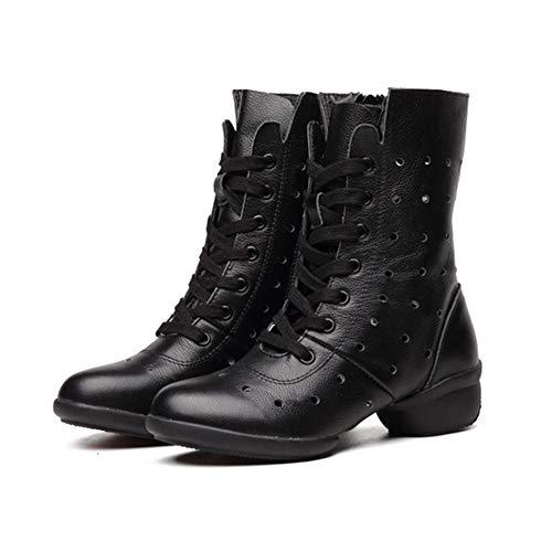 Denim Ankle Boot (Pengpengran Mittelhohe Lederstiefel der Kinder, Bequeme und Leichte Denim-Ankle-Boots Für Tanzaufführungen und Leben,Black,US8/EU39/UK6)
