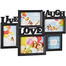 Relaxdays Marco de Fotos Múltiple Colgante Live Love Laugh, Plástico, Negro, 31 x 45.5 x 2 cm