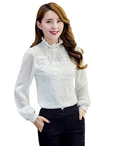 Sitengle Damenbluse Elegant Lace Blusen Chiffon Spitze Langarm Stehkragen  mit Futter OL Business Party T-Shirt Tops, Weiß, Gr. S EU32-34 d3718998fd