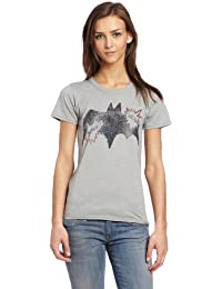 Junk Food Ladies Retro Batman Logo T Shirt Grey
