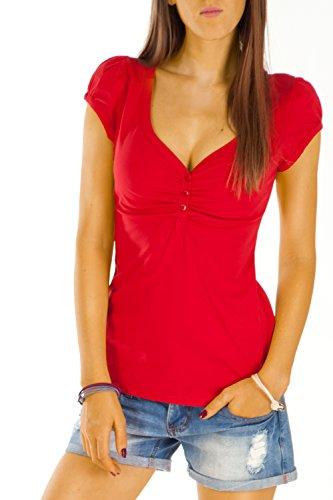 Bestyledberlin Damen T Shirt Oberteile Basic Top Shirt Stretch kurzarm mit Knöpfen t01p - S/36-38/M - Rot - Rote Damen Henley T-shirt