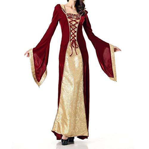 Fenical Mittelalterliche Prinzessin Kleid Cosplay Kostüm Halloween Ball Prom für Frauen Dame (XL)