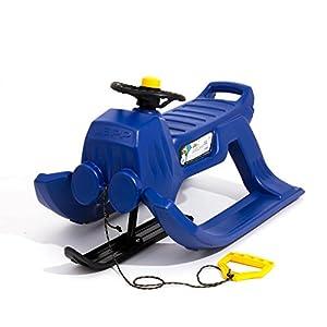 Lenkschlitten Schlitten Kinderschlitten Kunststoff Metalkufen JEPP CONTROL blau
