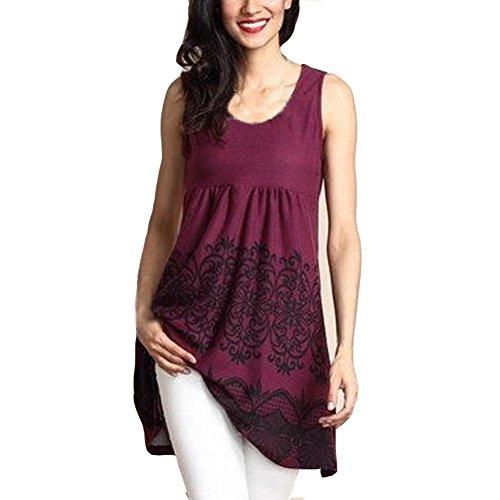 OverDose Damen Mode Blumen Tops Ärmellos O-Ausschnitt Gedruckt Tops lose T-Shirt Bluse Oberteile Tees Shirt(Wine,L)