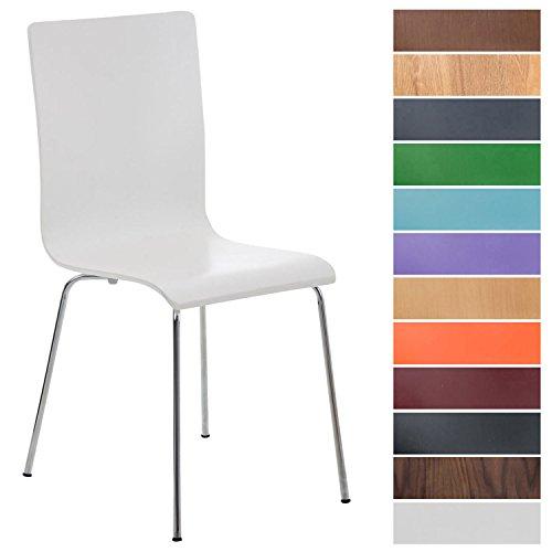 CLP Wartezimmerstuhl Pepe mit ergonomisch geformten Holzsitz und Metallgestell I Konferenzstuhl I erhältlich Weiß