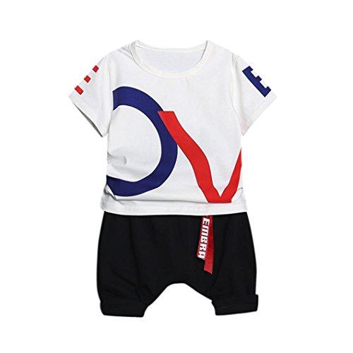 Yanhoo Kinderkleidung, Buchstabe Druck Baby Jungen Mädchen Runder Kragen Kurzschluss Hülsen Baumwolloberseiten T-Shirt + Hosen Zweiteiliger Anzug (Weiß, L)