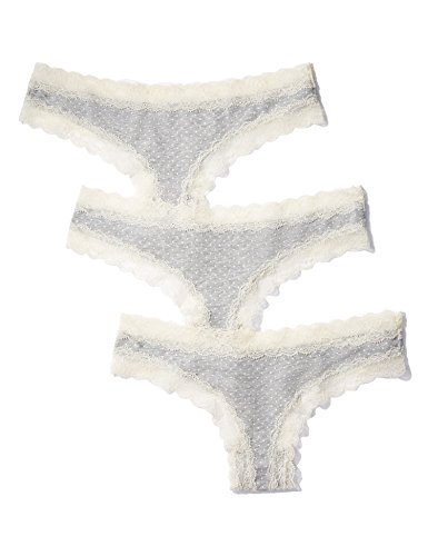 Iris & Lilly Women's Thong Cotton with Lace Trim, Pack of 3