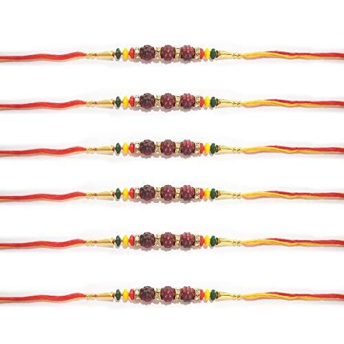 Set di 6 fili Rakhi, Designer 3 Rudraksha e Stone Ring Rakhi per Raksha  Bandhan, Traditional Rakhi, Thread (Design e colori assortiti)