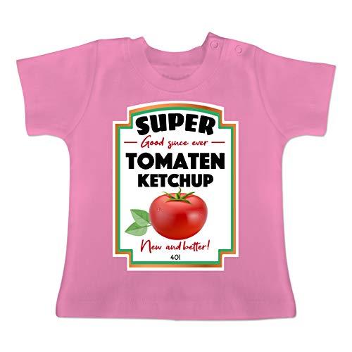 Karneval und Fasching Baby - Ketchup Kostüm Funny - 6-12 Monate - Pink - BZ02 - Baby T-Shirt (Ketchup Kostüm Baby)