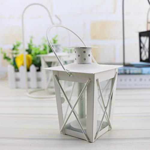 Tischplatte Basteln mit Haken Eisen Struktur Vintage marokkanischer Stil Hängelampe Licht Geschenk für Neujahr, weiß, without hook-1pc ()