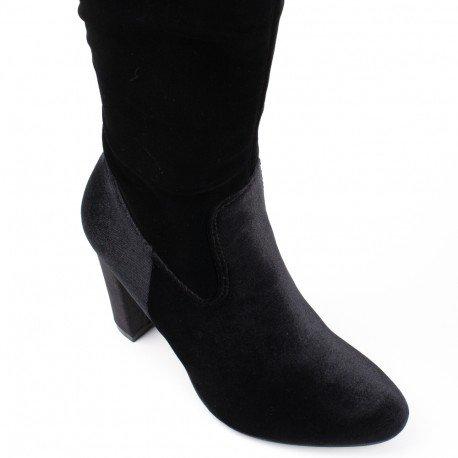 Ideal Shoes - Cuissardes effet velours et talon épais myriam Noir