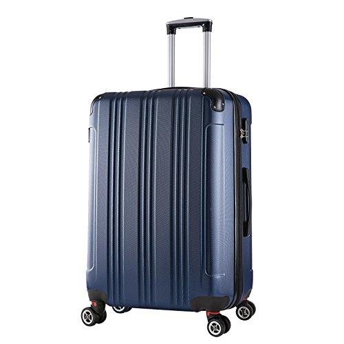 WOLTU RK4207bl, Reise Koffer Trolley Hartschale Volumen erweiterbar, Reisekoffer Hartschalenkoffer 4 Rollen, M/L / XL/Set, leicht und günstig, Blau (XL, 76 cm & 110 Liter)