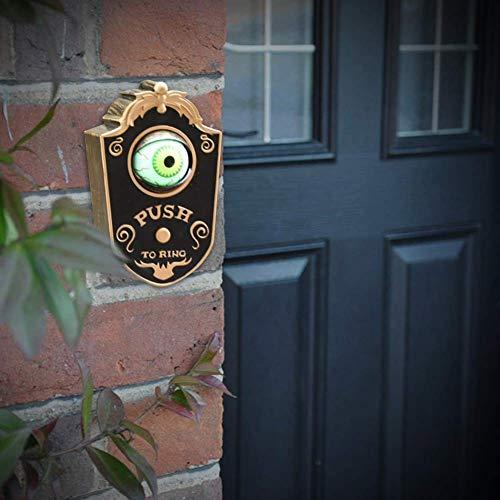 LuMon Halloween-Türklingel, Augen offen und leuchtet mit gruseligen Augen, bewegliche Türklingel für Spaß, einäugige Geister-Leckereien oder Trick-Ideen-Dekoration Schwarz