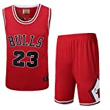 Photo de Les Hommes de Basket-Ball Maillots Set - Michael Jordan # 23 Chicago Bulls de Basket-Ball d'été Chemise brodée Shorts Gilet, Rouge, Blanc, Noir par JX-PEP