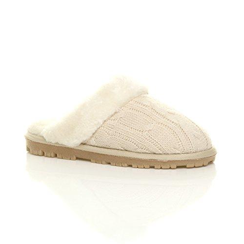 Femmes hiver doublée de fourrure luxe confortable chaude plat pantoufles chaussons pointure Beige en tricot