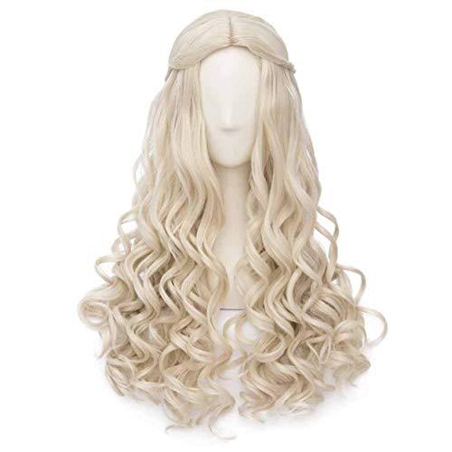 Cheveux blonds 65 cm Cosplay longue perruque de cheveux bouclés perruque synthétique cheveux Princes