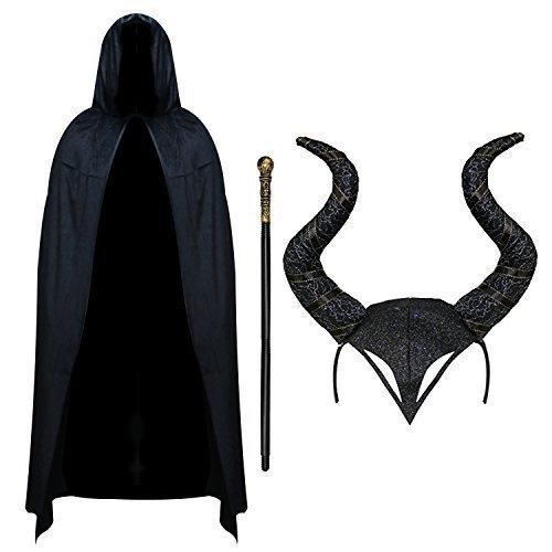 Evil Hexe Damen Halloween Outfit - Velvet Umhang, Hörner & Gehstock