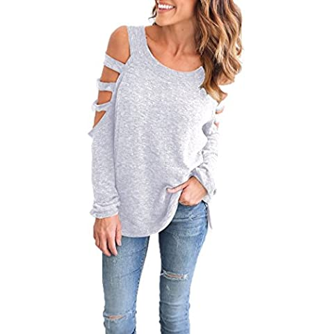 Women Loose Off Shoulder Hollowed Out Fashion Long Sleeve Tees Blouse Tops T-Shirt