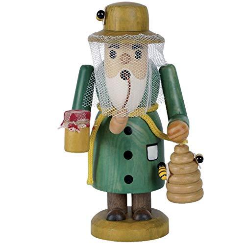 OBC Räuchermännchen Imker grün gebeizt, 15 cm, Dekofigur Handbemalt im Erzgebirge - Stil/Räuchermann / Räucherfigur aus Holz
