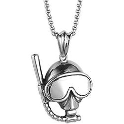 PAURO Hombre Acero Inoxidable Gafas De Buceo De Plata Y Máscara De Snorkel Encanto Colgante Collar Con Cadena De 22 Pulgadas