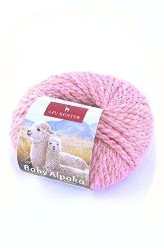 Baby-Alpaka Wolle BULKY 5x50g 50m Nadel 8 Strick-Häkel-Garn APU KUNTUR 5er-Pack rosa rosé