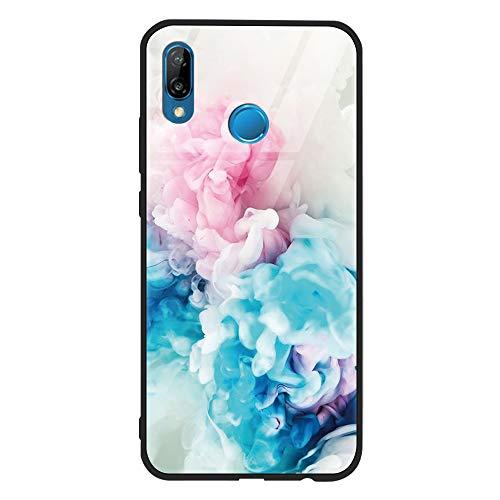 ZhuoFan Huawei P20 Lite Gehärtetes Glas Hülle mit Muster Motiv Handyhülle [Stoßfest] [Kratzfest] TPU Silikon Rahmen Glasrückseite Glashülle Schutzhülle für Huawei P20 Lite, Rose Blue