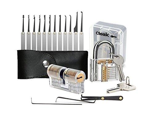 cleak-kit-de-crochetage-lockpicking-set-complet-de-15-pieces-avec-2-serrures-dentrainement-un-cadena