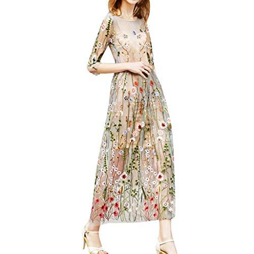 Schiere Lila Kleid (Junjie Damenmode bestickte Kleider halben Ärmeln Schiere Mesh-Embroidered Abendgesellschaft Kleid beige T-Shirt Mädchen blusen grösse grössen)