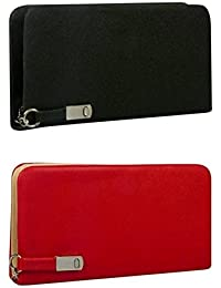 Fargo PU Women's Wallet Clutch Combo (Red,Black_FLFG-015)