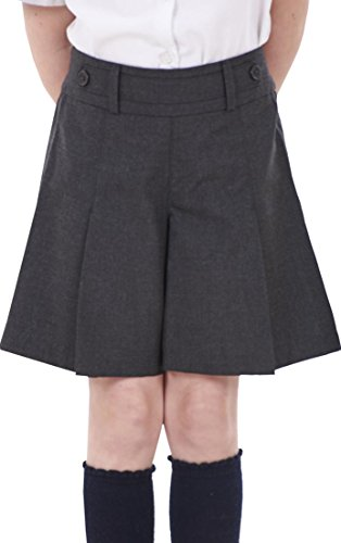 Girls BHS Shorts School Uniform Grey Pleats Charcoal Adjutasble Waist