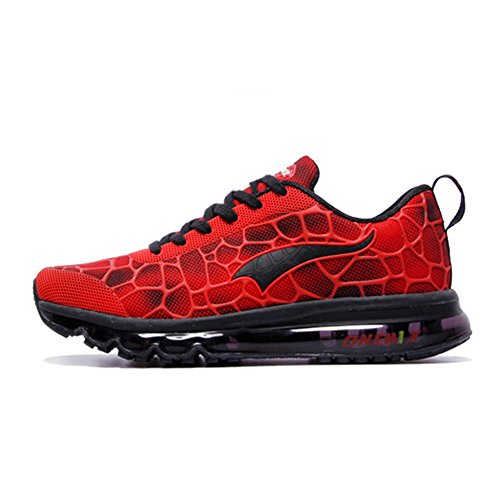 ONEMIX Air Max Chaussures Jogging Course Gym Fitness Sport Lacet Sneakers Style Running Tennis Respirante Homme Rouge Noir Taille 43 EU